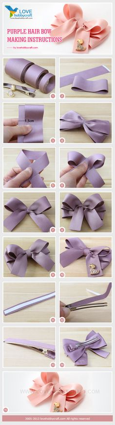 Purple hair bow making instructions. Also good for gift wrap idea and in other DIY crafts and home decor projects. instructions are all by the images only