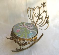 Tramp Art Doll Chair with Brocade Seat Cover by marypearlsvintage, $18.95
