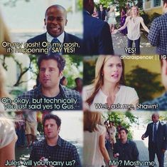 Dude when I read the title of this episode I was like NUUUUUU MA SHIP IS GONNA SINK! But then this happened and I was like, oh okay it had nothing to do with Jules and Shawn Psych Memes, Psych Tv, Psych Quotes, Tv Quotes, Movie Quotes, Funny Memes, Hilarious, Psych Cast, Shawn And Juliet