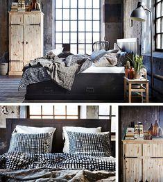 6. Rustykalnie, przytulnie iniezobowiązująco. Awszystko tow oprawie industrialnej architektury, alesprawdzi się też wstarej kamienicy czy domu. Dobry pomysł: odważnie zmiksowane style: rustykalne łóżko zczterema szufladami, szafa FJELL istolik nocny ODDVAR, industrialna lampa HEKTAR, nowoczesna pościel wkratę BJÖRNLOKA RUTA. Byten miks się udał, znajdź wspólny mianownik. Tu jest nim surowość materiałów: drewna, lnu, metalu, ceramiki. Zwróć też uwagę nałóżko ustawione wezgłowiem ...