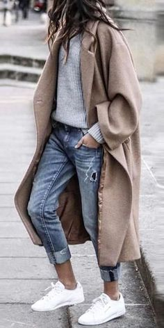 Pure Color Coats - Fashion turndown collar pure colour overcoat, 2019 winter trend, the best choice for winter, free s - Ad Fashion, Look Fashion, Fashion Outfits, Womens Fashion, Fashion Trends, Korean Fashion, Winter Trends, Outfit 2017, Mantel Outfit