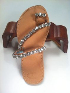 #Greek sandals #Swarovski crystals. Perfect for islands.