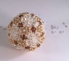Beaded Ivory and Gold Wedding Orb Ornament by RoyalJDesigns