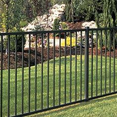 example of a fence built with ornamental materials Aluminum Fence, Metal Fence, Pool Fence, Backyard Fences, Fence Design, Patio Design, Fence Options, Fence Ideas, Dog Yard
