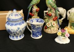 China incl figurines of birds, zebras, urn, tea cups, miniature tea set with hand painted decoration