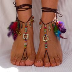 Brass and Brown ETNHIC BAREFOOT SANDALS feathers foot jewelry hippie sandals toe ring anklet crochet barefoot tribal sandals festival yoga
