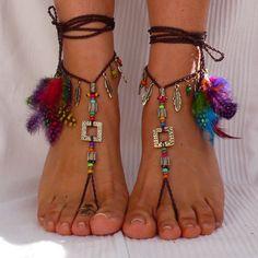 De cobre amarillo y marrón ETNHIC sandalias Descalzas plumas pie joyería hippie sandalias dedo anillo pulsera para el tobillo crochet sandalias tribales descalzos festival yoga