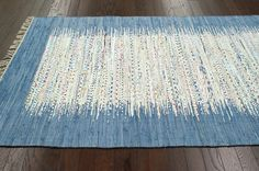 $5 Off when you share! Monaco Turin Cotton Flatweave Turquoise Rug | Contemporary Rugs #RugsUSA