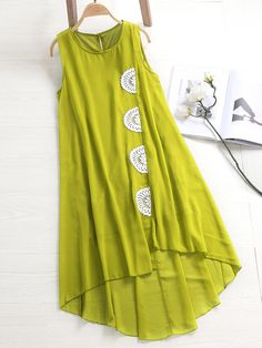 ZHI Boho Sleeveless Lace Patchwork Chiffon High Low Dresses is high-quality, see other cheap summer dresses on NewChic.Find latest and fashionable ladies winter dresses, long sleeve sweater dresses, maxi wrap dress, long black dress and more cheap be Simple Kurti Designs, Kurta Designs Women, Stylish Dress Designs, Stylish Dresses, Simple Dresses, Blouse Designs, Casual Dresses, Fashion Dresses, Indian Designer Outfits