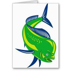 Dorado dolphin fish or mahi mahi cards