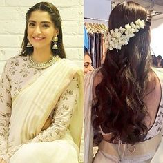 Loved Sonam Kapoor's latest look- especially the hair! Twisted braid, loose curls and mogra could be a great look for your mehend or even wedding! Saree Hairstyles, Indian Wedding Hairstyles, Sonam Kapoor Hairstyles, Indian Hairstyles For Saree, Bollywood Hairstyles, Latest Hairstyles, Indian Dresses, Indian Outfits, Waterfall Hairstyle