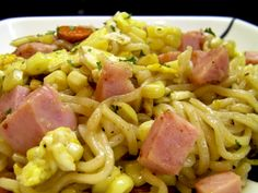 fried ramen noodles with spam... Not sure I'll ever make this but it sounds good