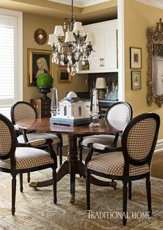 Check It Out: Check Patterned Fabric- Places In The Home New York Apartments, New York City Apartment, New York Homes, Dining Area, Dining Chairs, Dining Table, Dining Rooms, Dining Decor, Fine Dining