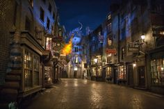 Diagon Alley at night... with dragon FIRE!