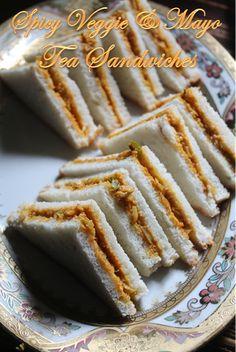 YUMMY TUMMY: Spicy Veg Mayonnaise Sandwich Recipe - Tea Sandwich Recipes (sliders party display) Appetizers For Party, Appetizer Recipes, Snack Recipes, Cooking Recipes, Indian Snacks, Indian Food Recipes, Veggie Sandwich Recipes Indian, Indian Foods, Yummy Snacks