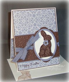 Purple Chocolate Easter Bunny  Handmade Card