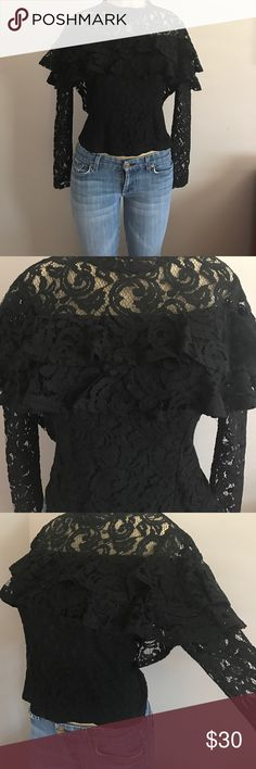 Beautiful lace blouse with ruffles.  Retail $98 Add a romantic feminine touch to any piece with this Beautiful black Chelsey Sky lace blouse with tiered ruffles. Features high neckline, zipper closure at side.                              MATERIAL: 65% Cotton/ 23% Nylon/ 12% Rayon.                           MADE IN THE 🇺🇸 🇺🇸🇺🇸USA 🇺🇸🇺🇸🇺🇸🇺🇸 chelsea Sky Tops Blouses