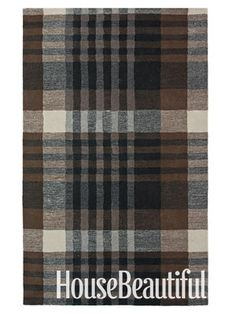 plaid rug. this would go great in my husband's den with dark hardwood floors, and a stylish desk. more masculine.