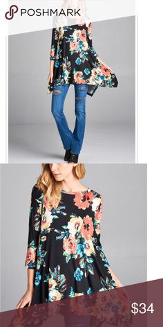 🆕 colorful tunic Colorful floral print tunic top with 3/4 sleeves and shark bite style hem length 30 it's a swing loose fit style Tops Tunics