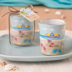 Buy FashionCraft Beach Themed Scene Glass Votive Holder and other party favors and personalized gifts. Beach Wedding Reception, Beach Wedding Favors, Unique Wedding Favors, Beach Weddings, Wedding Themes, Wedding Ideas, Summer Wedding, Reception Table, Elegant Wedding