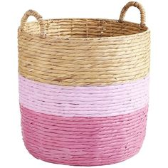 Pier 1 Imports Dippy Basket ($90) ❤ liked on Polyvore featuring home, home decor, small item storage, pink, water hyacinth basket, weave basket, pier 1 imports, pink home decor and book baskets