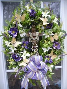 EASTER CROSS RELIGIOUS DOOR/WALL WREATH ~ THE PETAL SHOP ~ LILIES, BUTTERFLIES