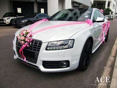 Wedding car decoration for a White Audi Sportback? Check out our lovely wedding car deco collection for Audi Simple but elegant decos for weddings! Audi S5 Sportback, Just Married Car, Cardboard Car, Bridal Car, Wedding Car Decorations, Wedding Stage, Wedding Cars, Wedding Transportation, Event Company