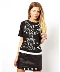 Black Cotton Round Neck Short Sleeve Print Tops JC484-1 US$19.6