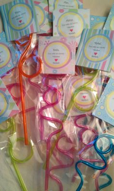 "Valentine, you make me Loopy!    All at Walmart:  Loopy Straws in the birthday supply isle, 6 for .97, Pretzels bags by the Wilton Cake supplies,  scrapbook paper, Avery round 2"" labels in office supply."