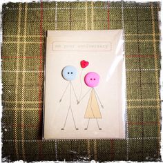 Anniversary card made with buttons and brown Kraft by ButtonBaps