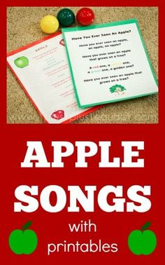 Apple theme: Apple Songs with free printables Preschool Apple Theme, Preschool Music, Fall Preschool, Preschool Themes, Preschool Apples, Kindergarten Apples, Preschool Apple Activities, Preschool Letters, Circle Time