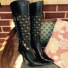 """Guess Canvas Tall Boots Beautiful black leather and signature canvas Guess boots. These boots are knee high, zip up, canvas, and leather. Heel ht: 4"""". Boot shaft ht 18 1/4"""", boot calf circumference 14"""". Boot top 15"""". Shown some creases due to normal use. In great used condition. Guess Shoes Over the Knee Boots"""