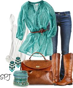 White Tank, Sheer Belted Turquoise Top, Low Rise Jeans, Brown Leather Knee High Boots, Brown Leather Bag, Turquoise Jewelry