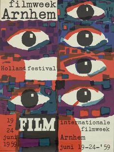Dick Elffers, poster filmweek Arnhem, 1959. Netherlands. Via Geheugen van Nederland