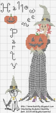 Cross-stitch Halloween Party... link not in English.. no color chart available either, but you can use colors shown in the graph pattern.