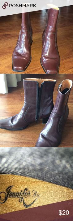 """Vintage Women's Ankle Boots These vintage-looking square toed burgundy boots bring the 1970s fashion vibe to the present! Don't know what US size they are, but the insole measures approx 10"""" from toe to heel, the widest part of the sole measures about 3.25"""" across and the heel is 2"""" tall. These awesome boots are in excellent used condition! Make me an offer, ask questions before purchasing! Jennifer's Shoes Ankle Boots & Booties"""