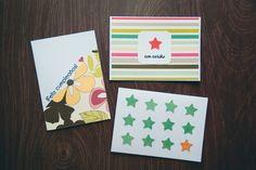 Tutorial 3 tarjetas sencillas para toda ocasión, rápidas de hacer, con retazos de papeles de scrapbooking.