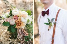 Burgundy bow tie. Boutonniere. Bohemian organic farm-to-table wedding inspiration. Lauren Fair Photography.