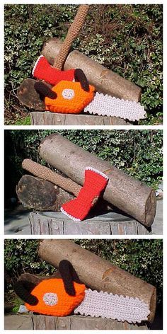 DIY Crochet Chainsaw and Axe Free Patterns from The Anti Craft.Because who wouldn't want a DIY crochet chainsaw and axe on Halloween?