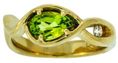 Peridot with Diamond 14k Ring