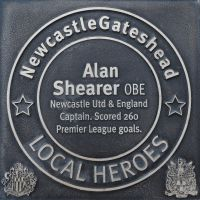 """Alan Shearer OBE, plaque on the quaysides """"Walk of Fame"""""""