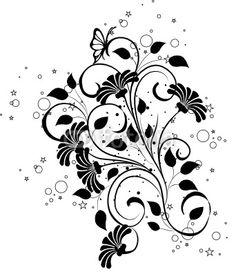 Vecteur : arabesques floral noir et papillons
