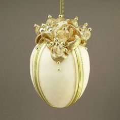 """Towers & Turrets- """"On the Rocks"""" -Ivory Velvet Egg with Czech Glass Beads Handmade Christmas Ornament Vintage Style Victorian Inspired"""