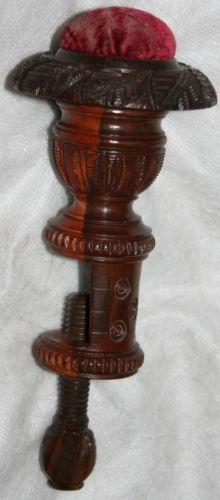 RARE Antique c1840 Victorian Treen Lignum Vitae Table Clamp Box Pin Cushion | eBay