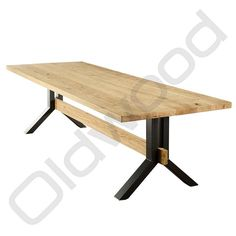 What makes the '' Harlem '' table so beautiful is the contrast between the metal and the wood, the metal is dark with a cold appearance but the wood gives a war Automotive Furniture, Metal Furniture, Furniture Styles, Table Furniture, Kitchen Table Bench, Dining Table Legs, Farmhouse Table, Timber Table, Metal Table Legs