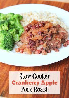 Slow Cooker Cranberry Apple Pork Roast ~ plus, it's freezer friendly and gluten free! | 5DollarDinners