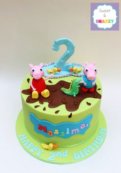Peppa Pig Cake - George Pig cake - Peppa Pig, George and Dinosaur - by Sweet + Snazzy https://www.facebook.com/sweetandsnazzy