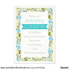 Aqua and yellow floral border women's birthday party 5x7 paper invitation