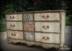 Tattered Elegance: 9 Drawer French Provincial Dresser