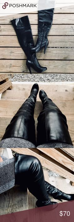Leather Thigh High Boots!!! Sexy thigh high boots! Has elastic on thigh opening if more room is needed. Boot shaft measures 22 inches. Heel is 4.5 inches. 9 inch thigh opening that has about another inch of stretch. Small nip at toe area and minor scuffing shown in pictures 4 and 7! Boots are otherwise in like new condition!! Colin Stuart Shoes Over the Knee Boots